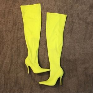 PLT Neon lime thigh high sock boots